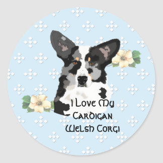 Cardigan Welsh Corgi, Blue w/White Diamonds Classic Round Sticker