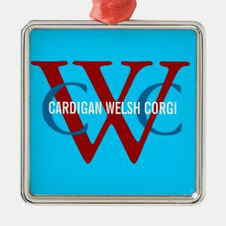Cardigan Welsh Corgi Breed Monogram Silver-Colored Square Decoration