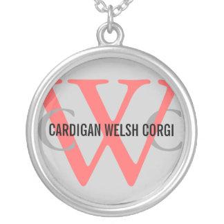 Cardigan Welsh Corgi Breed Monogram Round Pendant Necklace
