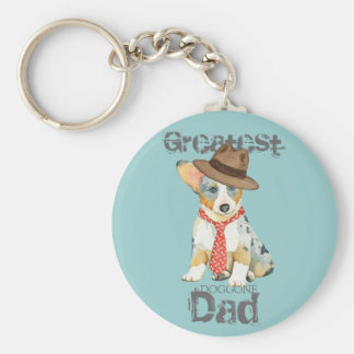 Cardigan Welsh Corgi Dad Basic Round Button Key Ring