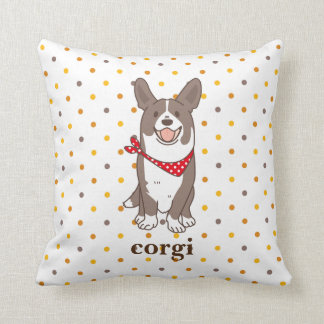 cardigan welsh corgi dot cushion