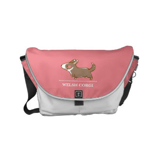 cardigan welsh corgi hand drawing, black and commuter bag