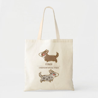 cardigan welsh corgi hand drawing tote bag
