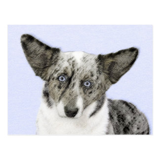 Cardigan Welsh Corgi Painting - Original Dog Art Postcard