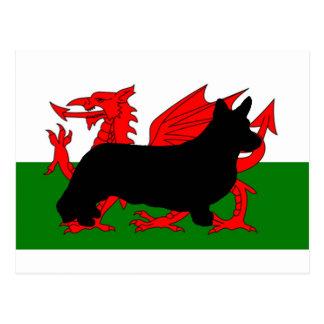 cardigan welsh corgi silhouette flag postcard