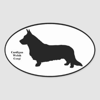Cardigan Welsh Corgi SIlhouette Oval Sticker