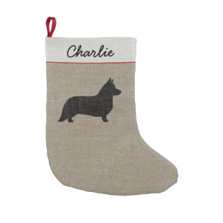 Cardigan Welsh Corgi Silhouette with Custom Text Small Christmas Stocking