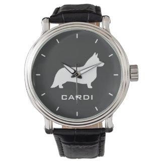 Cardigan Welsh Corgi Silhouette with Custom Text Watch