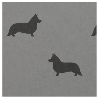 Cardigan Welsh Corgi Silhouettes Pattern Fabric