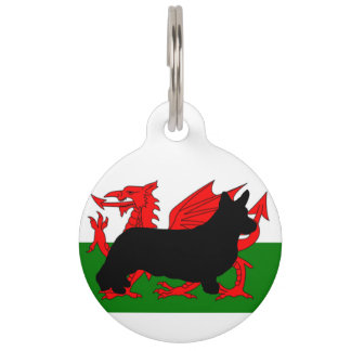 cardigan welsh corgi silo wales flag pet name tag