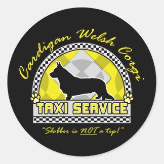 Cardigan Welsh Corgi Taxi Service Classic Round Sticker