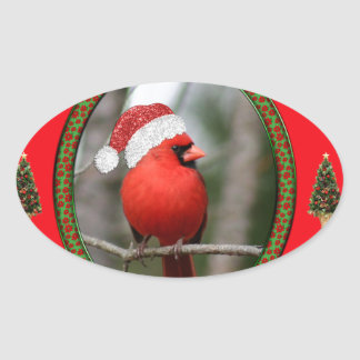 Cardinal and Christmas Trees on Red Background Oval Sticker