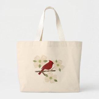 Cardinal and Dogwood Watercolor Tote Bag