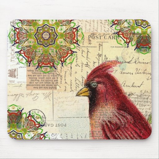 Cardinal and Ephemera Collage Mouse Pads