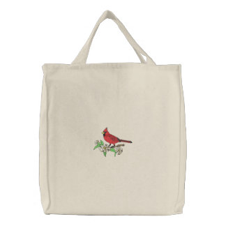 Cardinal and Flowers Canvas Bag