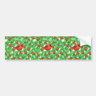 Cardinal and holly berry watercolor pattern bumper sticker