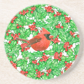 Cardinal and holly berry watercolor pattern coaster