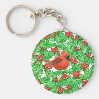Cardinal and holly berry watercolor pattern key ring