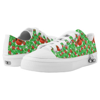 Cardinal and holly berry watercolor pattern low tops