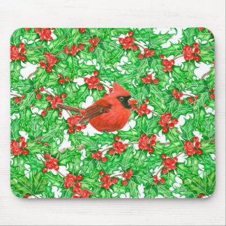 Cardinal and holly berry watercolor pattern mouse pad
