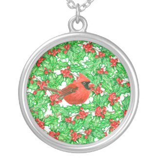 Cardinal and holly berry watercolor pattern silver plated necklace