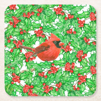 Cardinal and holly berry watercolor pattern square paper coaster