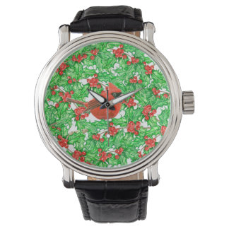 Cardinal and holly berry watercolor pattern watch