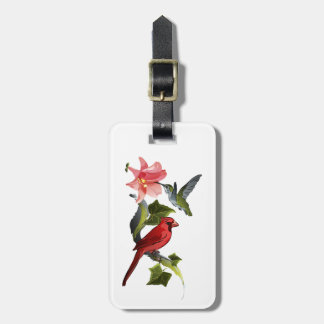 Cardinal and Hummingbird Pink Lily Personalized Luggage Tag