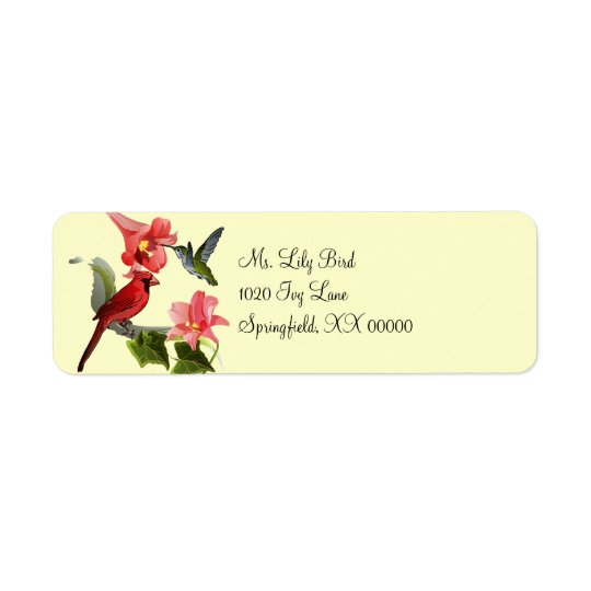 Cardinal and Hummingbird with Pink Lilies and Ivy Return Address Label