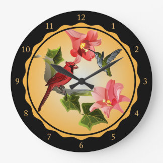 Cardinal and Hummingbird with Pink Lilies and Ivy Wallclocks