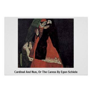 Cardinal And Nun, Or The Caress By Egon Schiele Poster