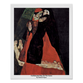 Cardinal And Nun, Or The Caress By Schiele Egon Poster