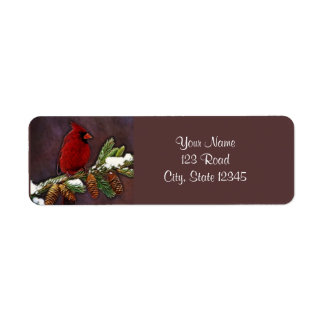 Cardinal and Pinecones Return Address Label
