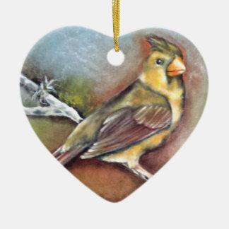 Cardinal Bird Heart Shaped Ornament