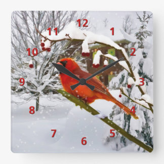 Cardinal Bird, Snow, Winter Square Wall Clock