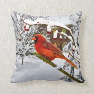 Cardinal Bird, Snow, Winter, Throw Pillow