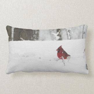 Cardinal Bird Winter Snow Picture Lumbar Cushion