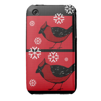 CARDINAL BIRD WINTER SNOWFLAKES iPhone 3G/3Gs Case iPhone 3 Case