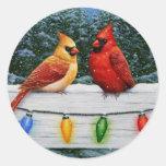 Cardinal Birds and Christmas Lights Round Sticker