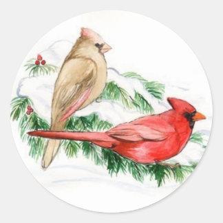 Cardinal Birds Art Sticker