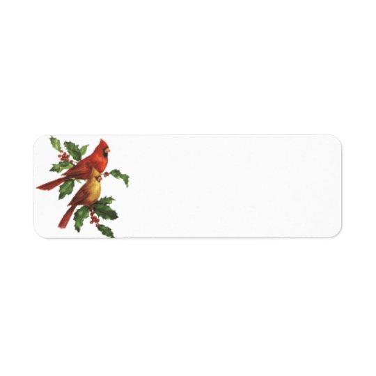 Cardinal Birds Holiday Label Return Address Label