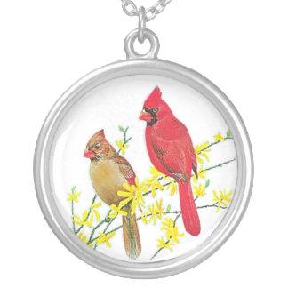 CARDINAL BIRDS SILVER PLATED NECKLACE