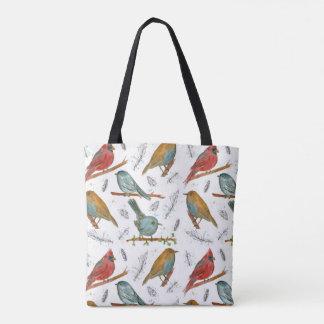 Cardinal Bluebird Chickadee Watercolor Birds Tote Bag