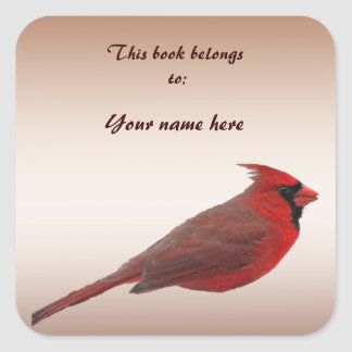 Cardinal Bookplate Sticker