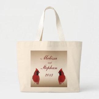 Cardinal Bride and Groom Wedding Jumbo Tote Bag