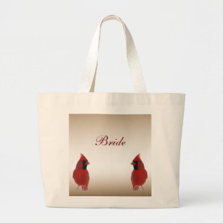 Cardinal Bride's Wedding Jumbo Tote Bag