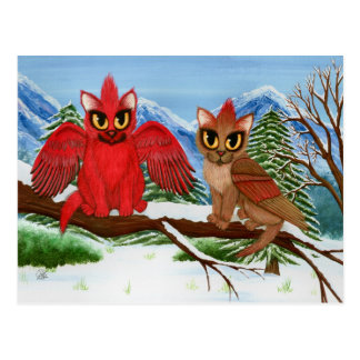 Cardinal Cats Winter Bird Fantasy Cat Art Postcard