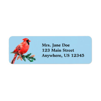 Cardinal Christmas Holiday Return Address Labels