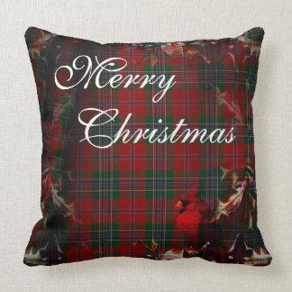 Cardinal Christmas Plaid Cushion