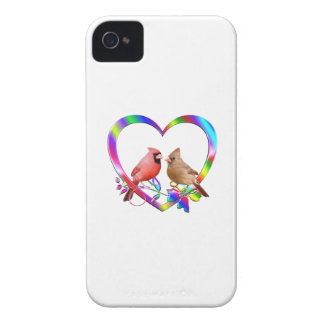 Cardinal Couple in Colorful Heart Case-Mate iPhone 4 Case